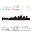 Spokane skyline linear style with rainbow vector image