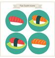 Flat Food Sushi Circle Icons Set vector image