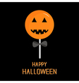 Sweet candy lollipop with pumpkin face Black bow vector image