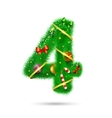 Fir tree decorative number vector image