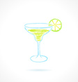Classic margarita cocktail with lime Ink vector image