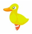 Cute yellow little duck icon cartoon style vector image