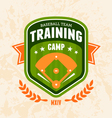 Baseball camp emblem vector image