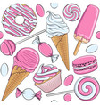 seamless pattern with pink and white sweets vector image