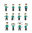 Set of cute young businessmen character poses vector image