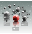 Spheres in motion on gray background Red sphere vector image