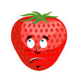 strawberry surprised emoji red berry astonished vector image