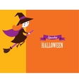 Halloween cute greeting card with witch vector image vector image