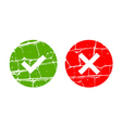 Tick and cross grunge signs vector image