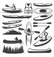 Vintage Kayaking Elements Set vector image