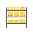 storagerows of shelves with boxes vector image