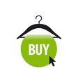 logo hanger with a green button and cursor vector image