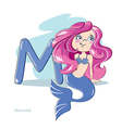 Cartoons Alphabet - Letter M with funny Mermaid vector image