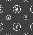 Japanese Yuan icon sign Seamless pattern on a gray vector image