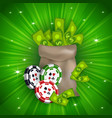 casino banner with tokens and money bag vector image