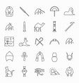 egypt outline icons vector image