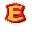 letter e lamp glowing font vintage light bulb vector image