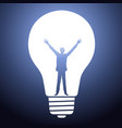 man silhouette standing in light bulb vector image