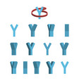 sheet of sprites rotation of cartoon 3d letter y vector image