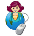 A smiling woman above the earth with a computer vector image vector image