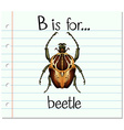 Flashcard letter B is for beetle vector image