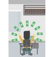 Successful businessman under money rain vector image