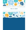 Blue and yellow flowersilhouettes torn frame vector image