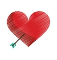 drawing red heart with arrow love symbol vector image