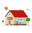 family house flat design building with trees vector image