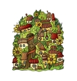 fantasy fairy-tale drawing town vector image