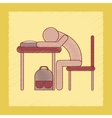 flat shading style icon student sleeping at the vector image