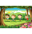 Four playful kids at the forest vector image vector image