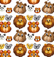 Seamless animal heads vector image