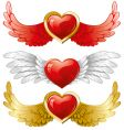 set of hearts with wings vector image
