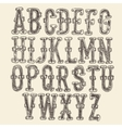 Original font baroque vintage engraved hand drawn vector image