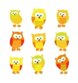 Set of cute cartoon owls isolated on white vector image