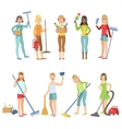 Adult People Cleaning Up Indoors vector image