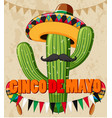 cinco de mayo poster design with cactus with hat vector image