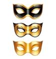 Set of golden carnival venetian masks on white vector image