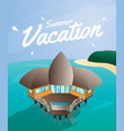 summer vacation card bungalow house on the vector image