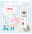 Vacation at sea background marine elements vector image vector image