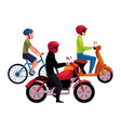 motorcycle scooter and bicycle drivers riders vector image