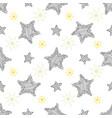 hand drawn sketch stars seamless pattern childish vector image