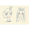Princess Sketches style in notebook vector image vector image