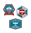 Aviation and tourism emblems vector image