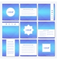 Blue set of square template brochure Business vector image