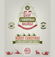 christmas emblem of green and red hues vector image