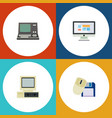 flat icon laptop set of computer mouse display vector image
