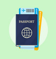 passport and airline boarding pass tickets vector image