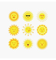 Set of yellow sun emoji and faces icons vector image